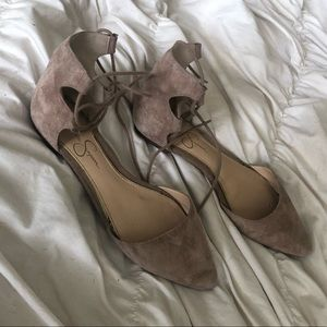 Point-Toe Lace Up d'Orsay Nude Suede Flats